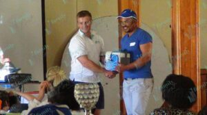 Man receiving a prize
