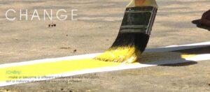 Brush painting yellow line